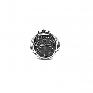 Anello in acciaio a forma di scudo