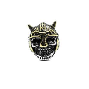 Anello in acciaio con elmo bicolor oro e argento