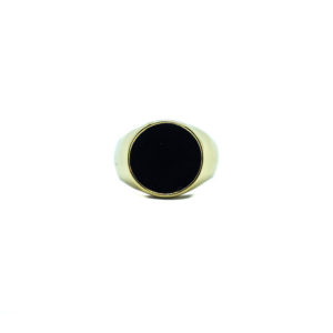 Anello in acciaio gold con pietra nera